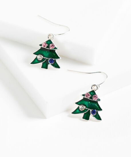 Holiday Tree Earring, Green/Pink/Silver, hi-res