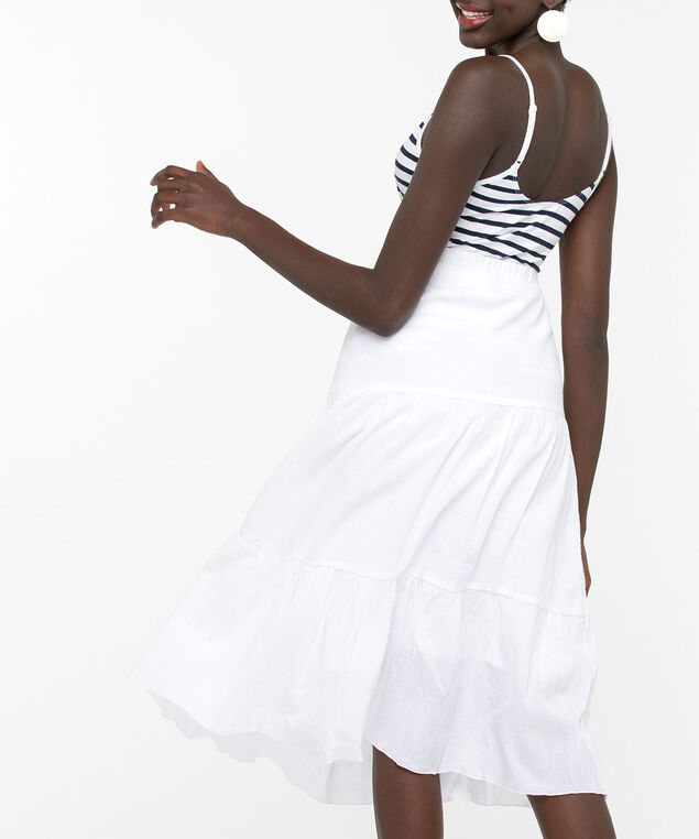 Tiered Midi Skirt, True White, hi-res