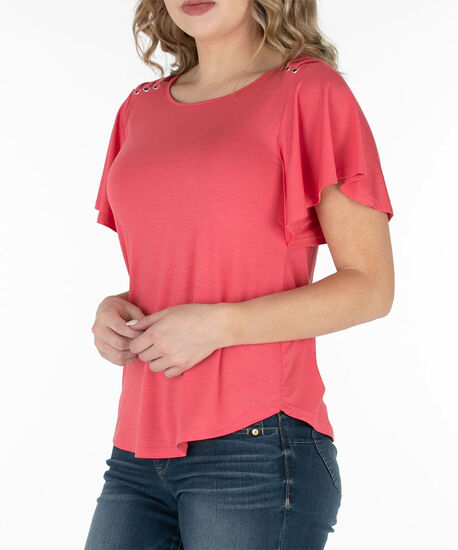 Flutter Sleeve Scoop Neck Top, Coral, hi-res