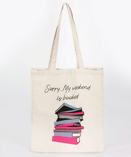 Booked Canvas Tote, Natural/Blue/Pink, hi-res