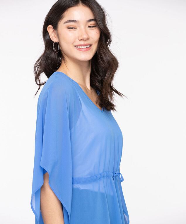 V-Neck Tie Waist Cover-Up, Bijou Blue