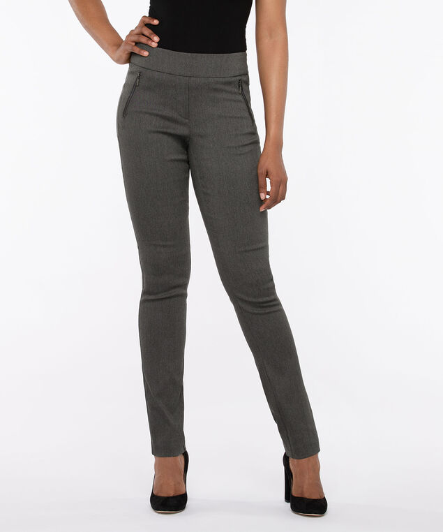 Microtwill Pull On Slim Leg, Grey, hi-res