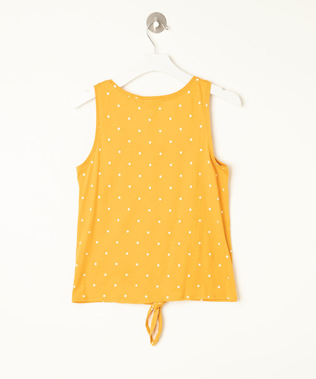 Sleeveless Tie Waist Henley Top, Yellow/Pearl, hi-res