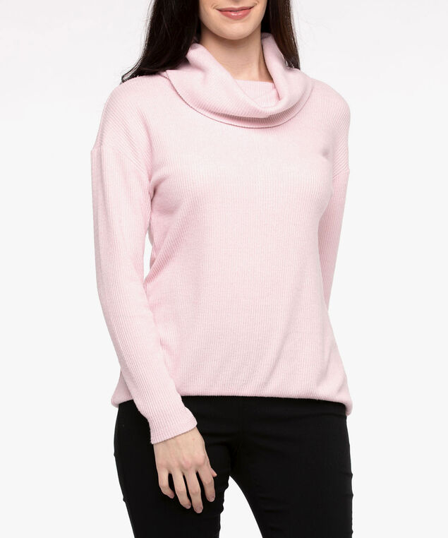 Cowl Neck Bubble Hem Top, Dusty Blush, hi-res