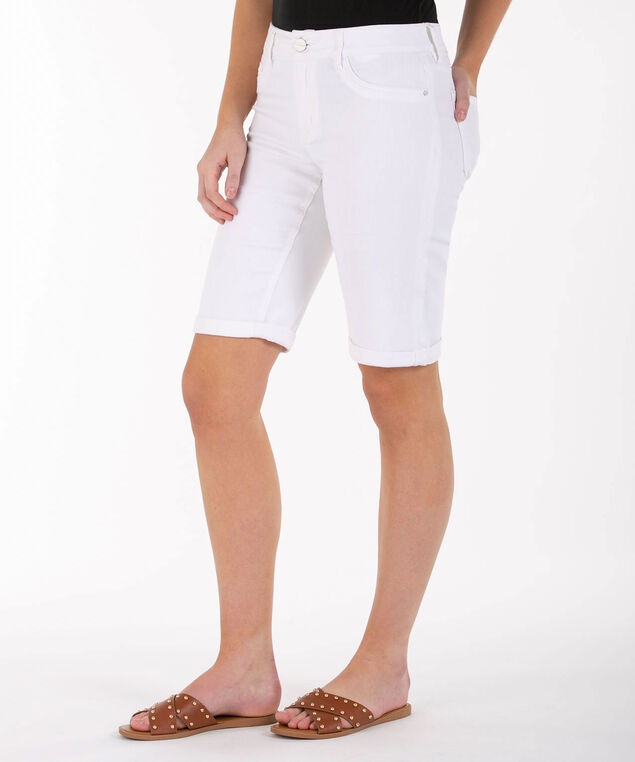 Cuffed White Denim Bermuda Short, True White, hi-res