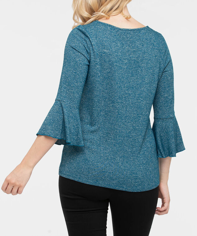 Flounce Sleeve Scoop Neck Top, Steel Blue, hi-res