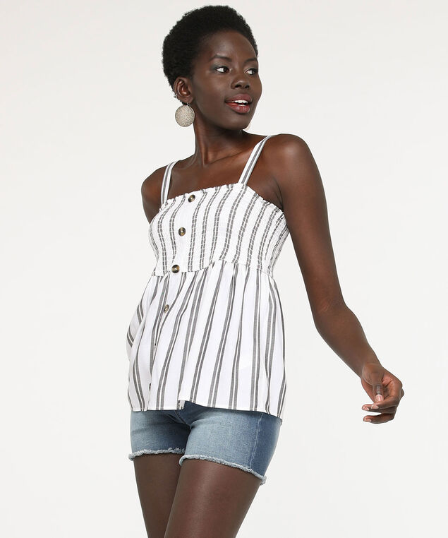 Sleeveless Smocked Striped Blouse, True White/Black, hi-res