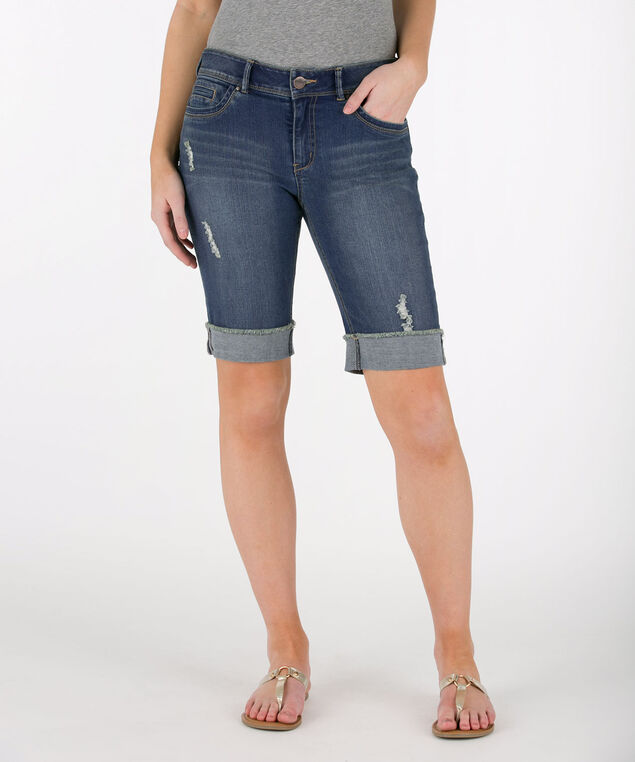 Cuffed Raw Hem Denim Bermuda Short, Light Wash, hi-res