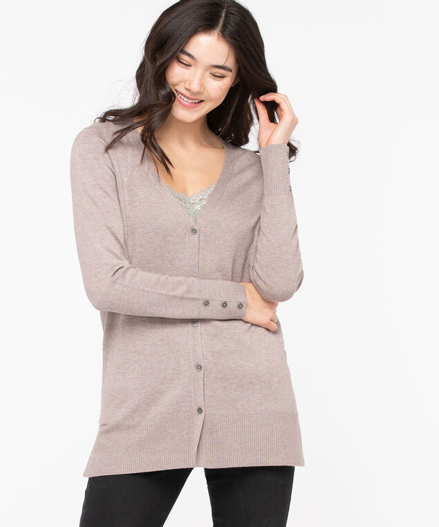 Button Front V-Neck Cardigan, Taupe