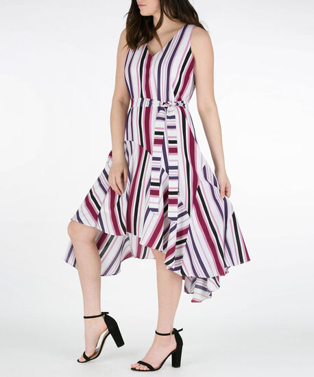 Striped Asymmetrical Hem Dress, Purple/White/Black, hi-res