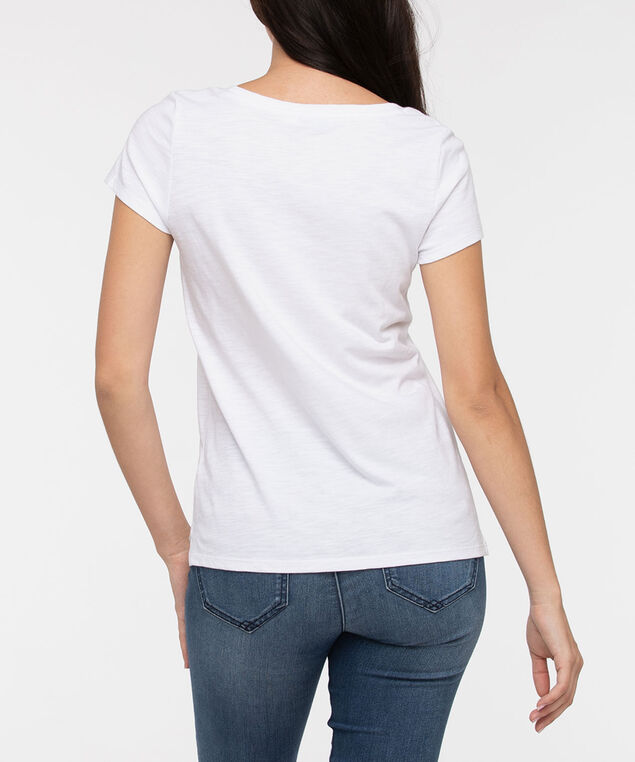 Short Sleeve Scoop Neck Tee, Pearl, hi-res