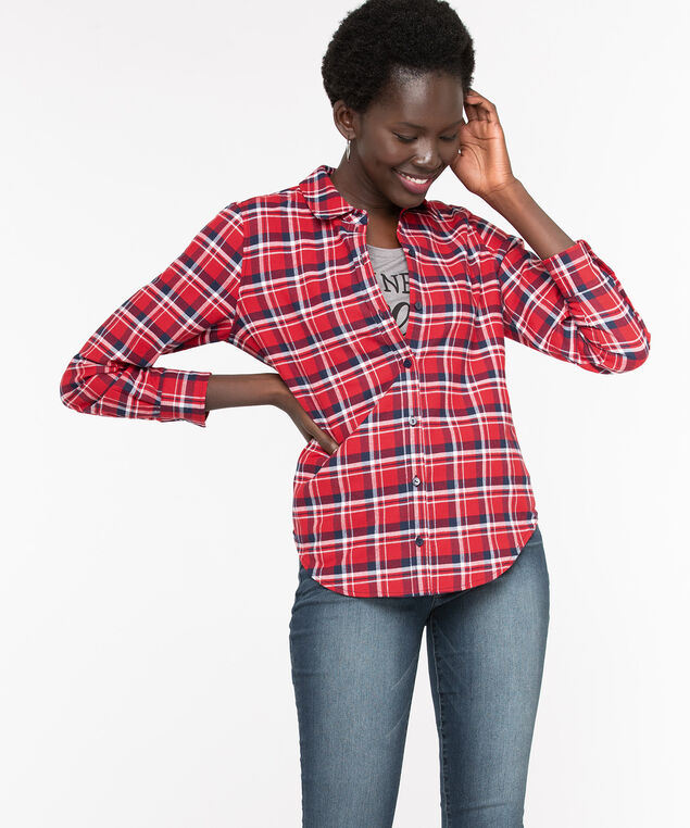 Plaid Cotton Flannel Blouse, Poppy Red/Navy, hi-res