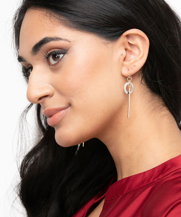 Mixed Metal Circle & Post Earring, Gold/Silver