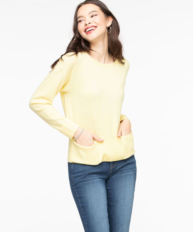 Scoop Neck Pocket Hem Sweater, Yellow Mix