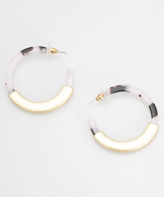 Gold & Resin Hoop Earring, Gold/Cameo Pink, hi-res