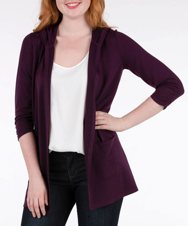 Hooded Open Cardigan, Plum, hi-res