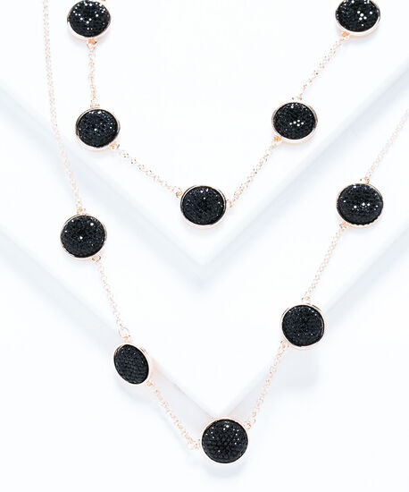 Black Glitz Stationed Layered Necklace, Rose Gold/Black, hi-res
