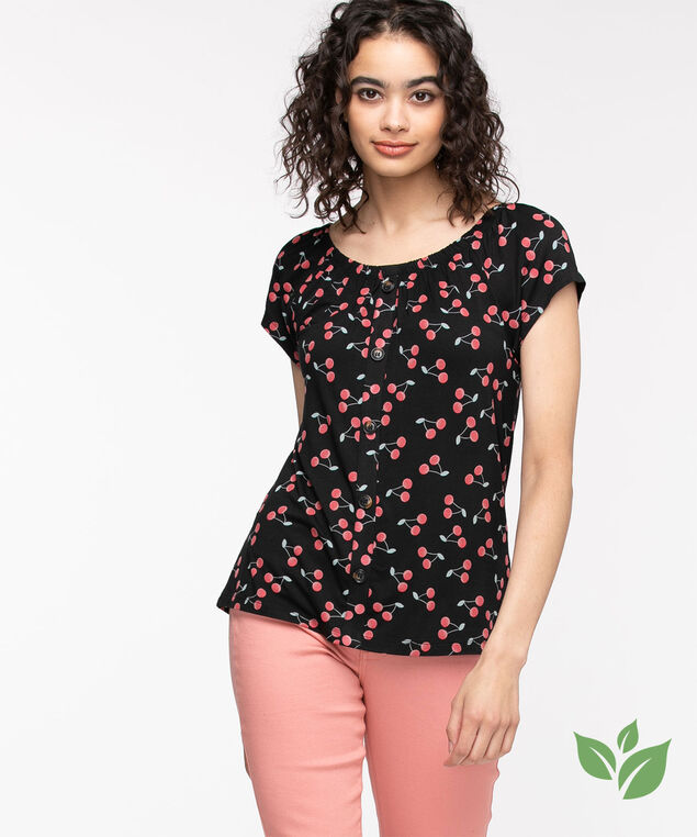 EcoVero™ On/Off Shoulder Top, Black/Red Cherry