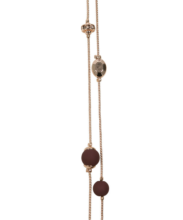 Stationed Matte Bead Necklace Set, Black Cherry/Rose Gold, hi-res