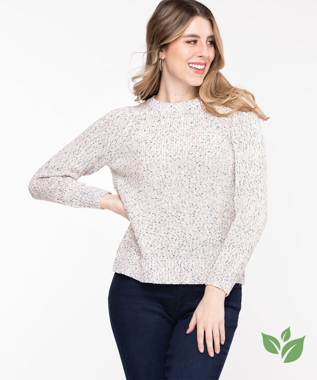 Eco-Friendly Yarn Raglan Sweater, Pink Confetti Mix
