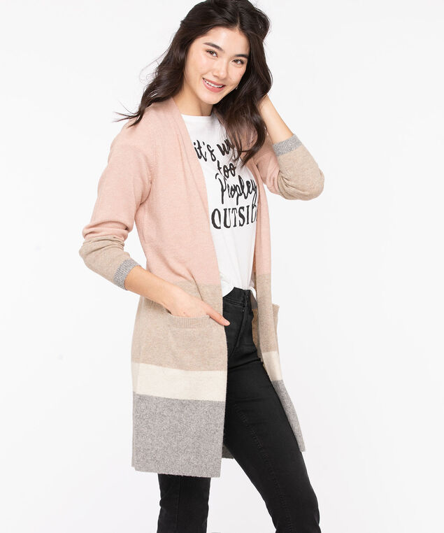 Soft Open Front Duster Cardigan, Rose Smoke/Light Grey/Ivory