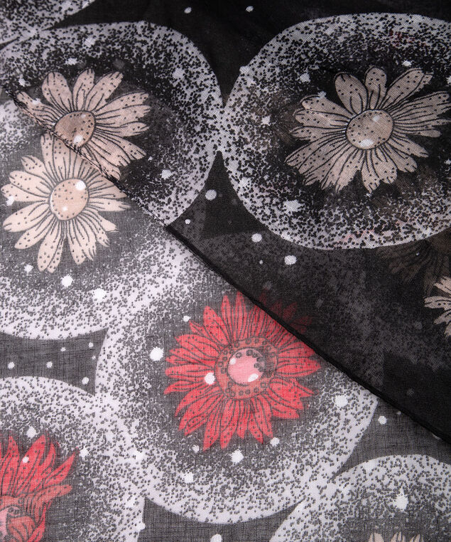 Daisy Print Oblong Scarf, Black/Crimson/Almond, hi-res