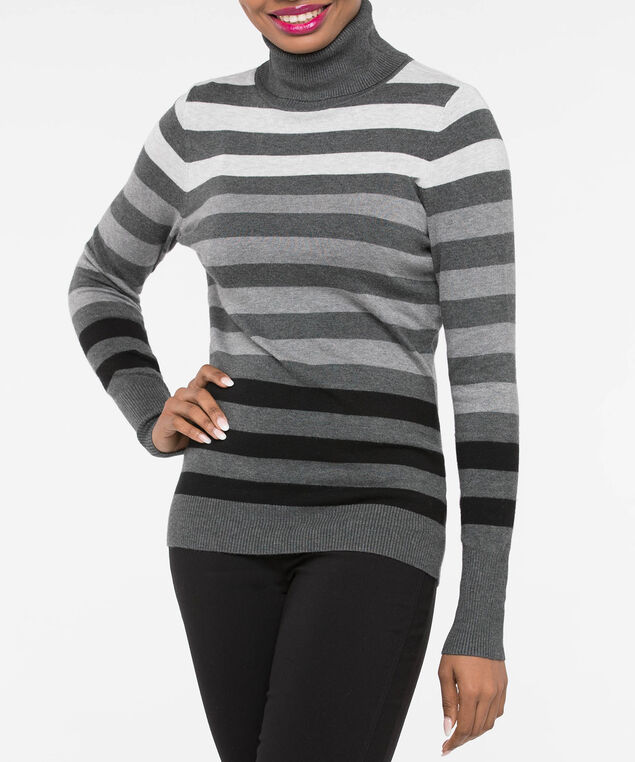 Long Sleeve Turtleneck Sweater, Light Heather Grey/Mid Heather Grey, hi-res