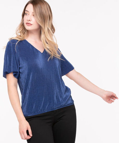 Pleated Short Sleeve Top, Summer Navy, hi-res