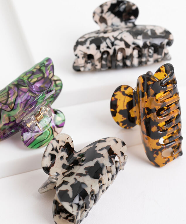 Small Claw Clip 4-Pack, Brown/Amber/White/Black/Green/Purple
