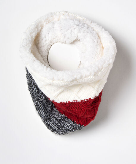 Cozy Knitted Snood, Crimson/Pearl/Black, hi-res