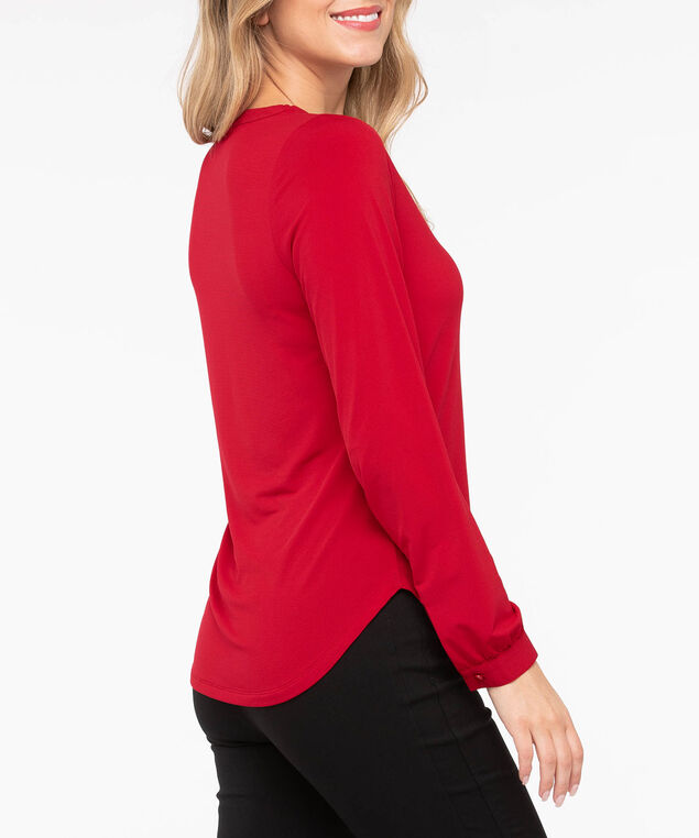 Long Sleeve V-Neck Knit Top, Crimson, hi-res