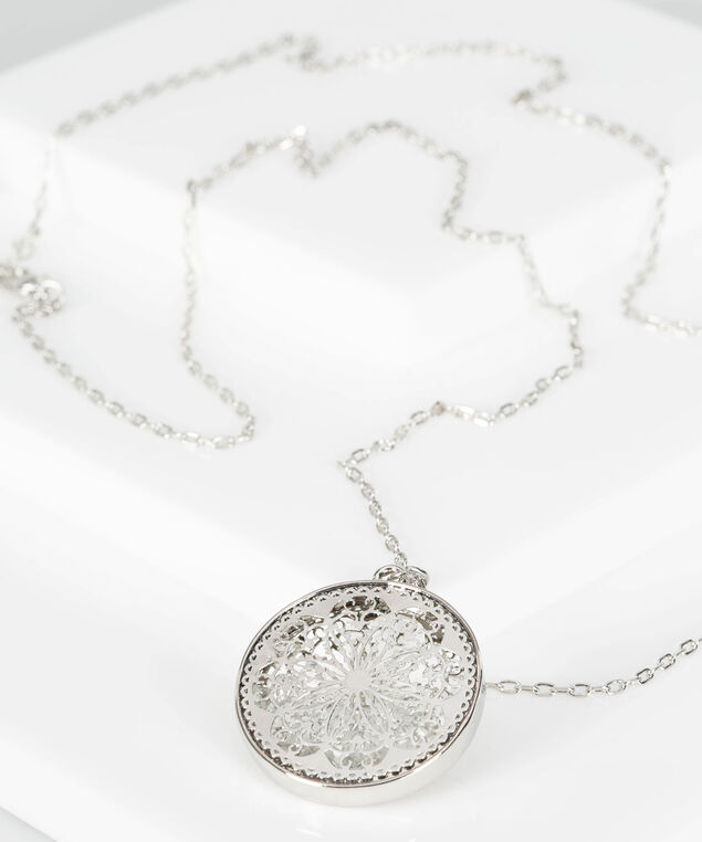 Caged Crystal Pendant Necklace, Rhodium, hi-res