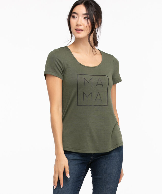 Hacci Scoop Neck Graphic Tee, Thyme/Mama