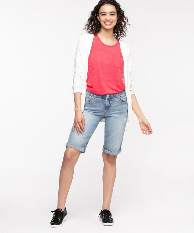 Sleeveless Hacci Pocket Tee, Rouge Red