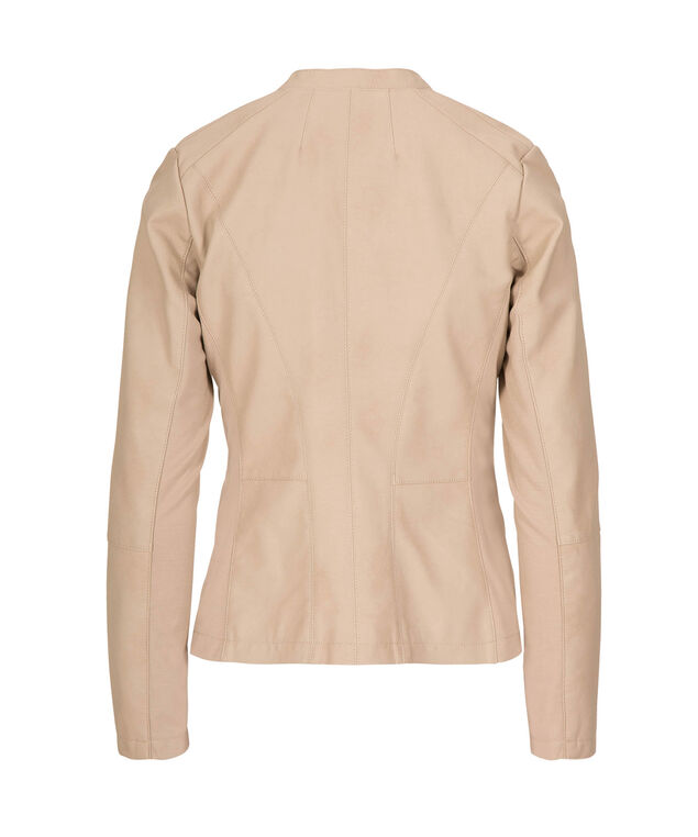 Faux Leather Open Front Blazer, Taupe, hi-res