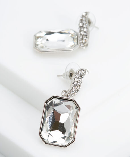 Emerald Cut Faceted Stone Earring, Rhodium, hi-res