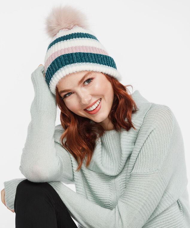 Striped Chenille Toque, Dusty Blush/Pearl/Teal, hi-res