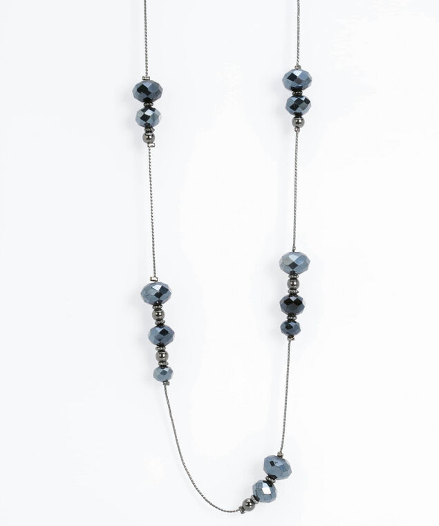 Stationed Faceted Stone Necklace, Hematite/Steel Blue, hi-res