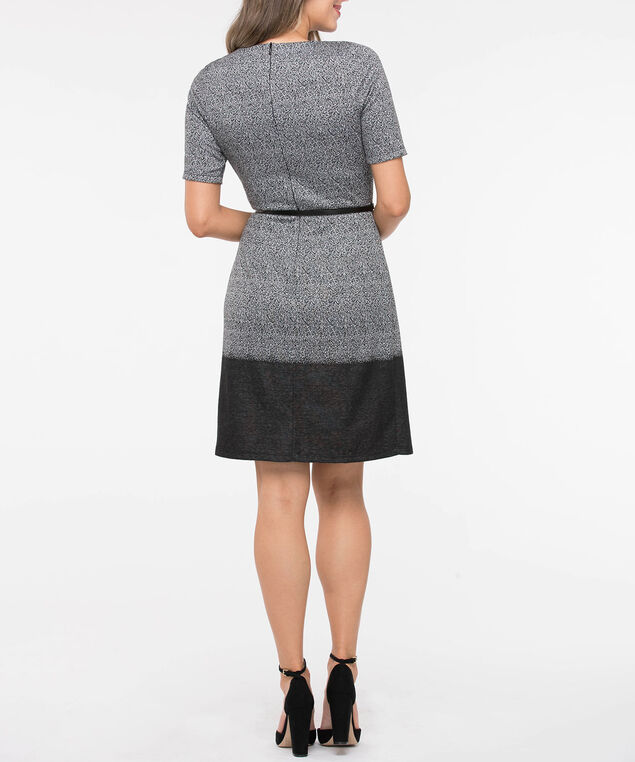 Short Sleeve Jacquard Belted Dress, Black Mix, hi-res