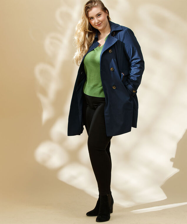 Belted Double Breasted Trench Coat, Navy