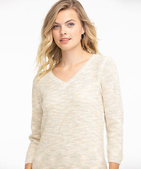 V-Neck Curved Hem Pullover, Teal/Yellow/White Space Dye, hi-res