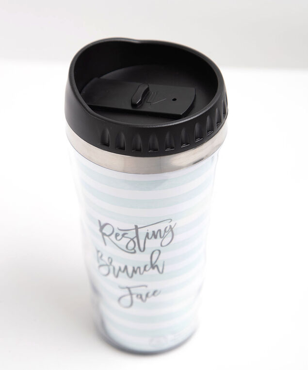 Cozy Brunch Travel Mug, Black/Pink/White/Teal, hi-res