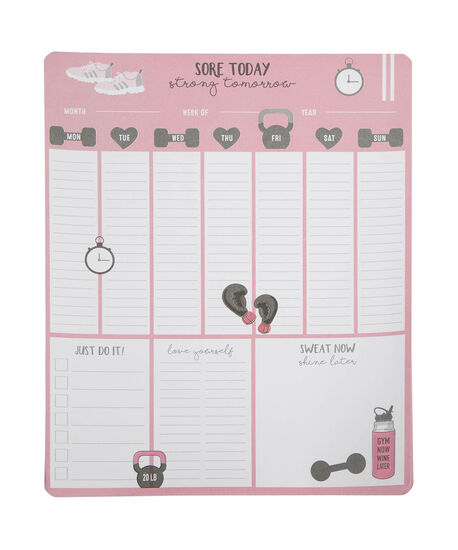 Fitness Weekly Planner Pad, Pink/Black, hi-res