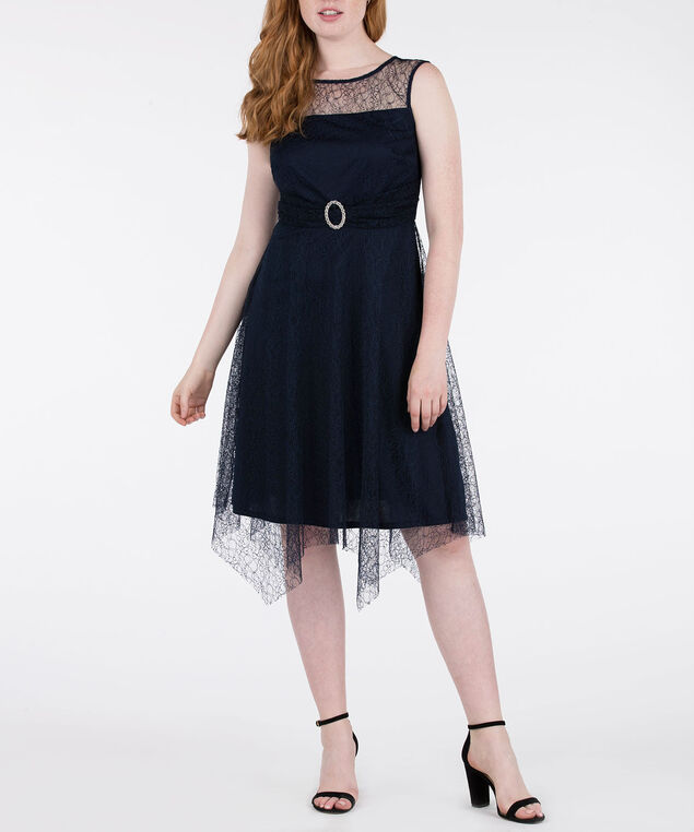 Lace Overlay Illusion Neck Dress, Summer Navy, hi-res