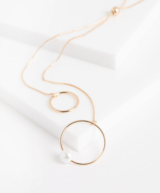 Double Circle Pearl Lariat Necklace, Gold