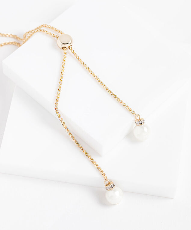 Long Adjustable Pearl Lariat Necklace, Gold/Pearl