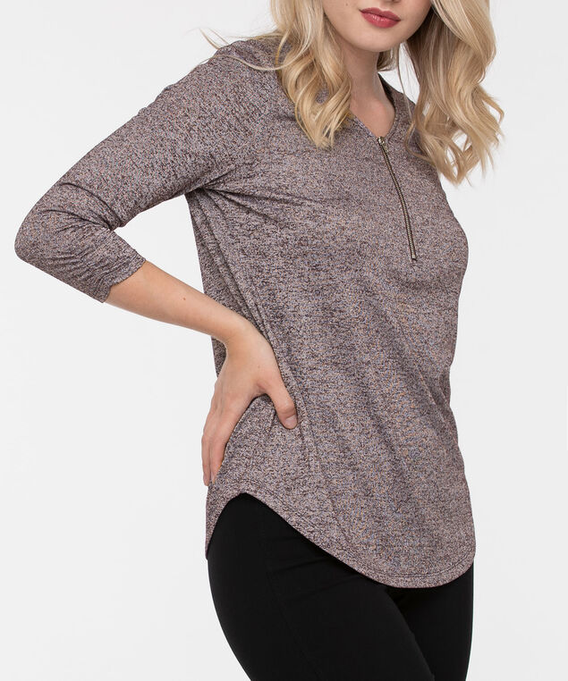 Zipper Front 3/4 Sleeve Top, Plum, hi-res