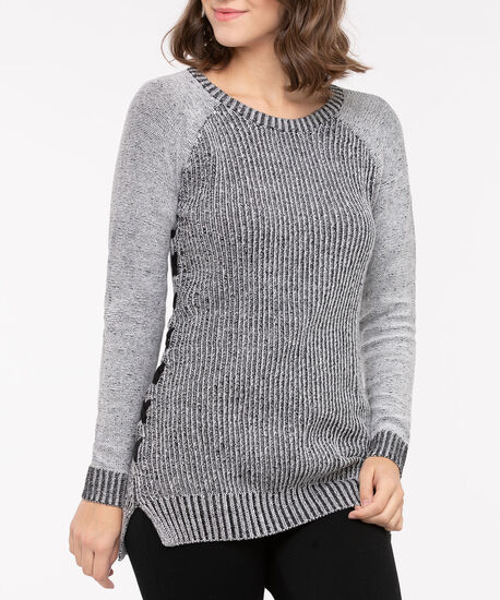 Side Lace Up Pullover Sweater, Black Mix, hi-res