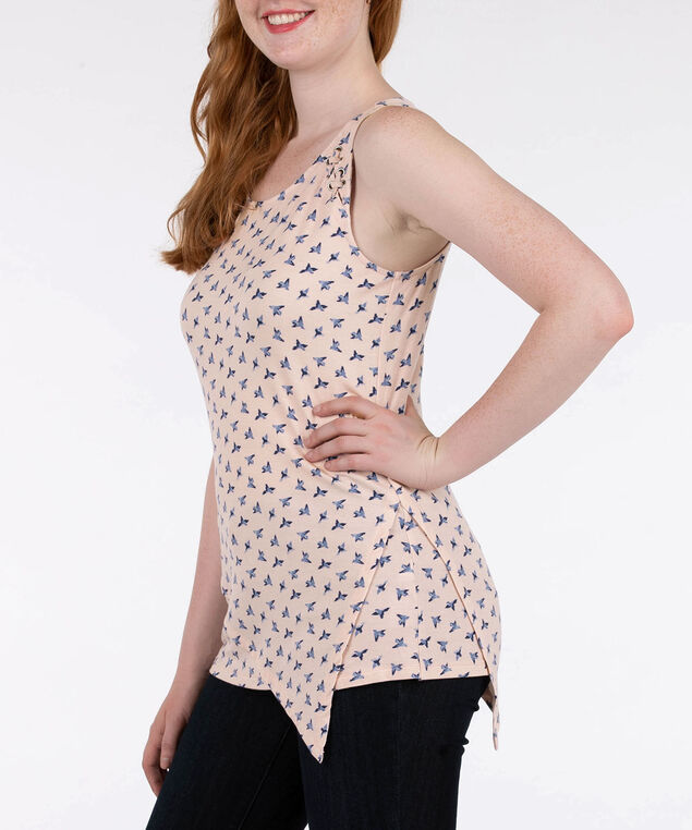 Sleeveless Lace Up Asymmetrical Top, Petal Pink/Blue, hi-res