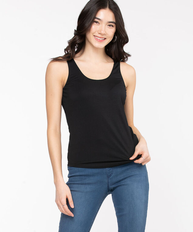 Double Layer Built Up Cami, Black
